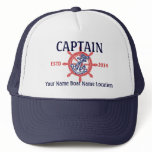 Personalized Captain First Mate Skipper Your Hat<br><div class='desc'>A personalized nautical style wheel decor for a custom casual truckers hat for yourself or for someone special on your list to enjoy. Here&#39;s a selection of fine custom nautical style embroidered baseball caps you can personalize easily. Use the &quot;Ask this Designer&quot; link to contact us with your special design...</div>