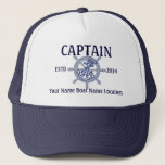 "Personalized Captain First Mate Skipper Your Hat<br><div class=""desc"">A personalized nautical style wheel decor for a custom casual truckers hat for yourself or for someone special on your list to enjoy. Here&#39;s a selection of fine custom nautical style embroidered baseball caps you can personalize easily. Use the &quot;Ask this Designer&quot; link to contact us with your special design...</div>"