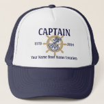 "Personalized Captain First Mate Skipper Your Hat<br><div class=""desc"">A personalized nautical style wheel decor for a custom casual truckers hat for yourself or for someone special on your list to enjoy. Here's a selection of fine custom nautical style embroidered baseball caps you can personalize easily. Use the ""Ask this Designer"" link to contact us with your special design...</div>"