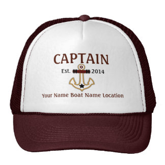 Personalized Captain Hat Year Name Location