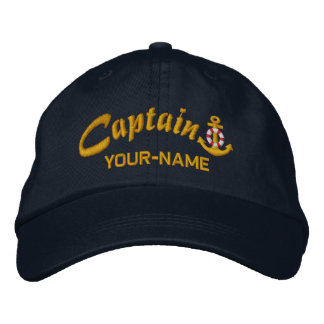 Personalized Captain Lifesaver Anchor Name Golden Embroidered Baseball Cap