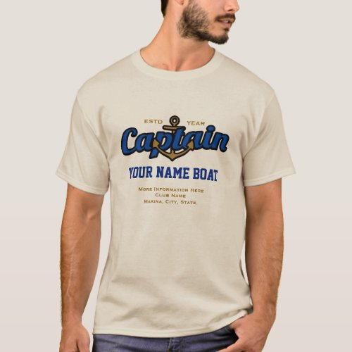 Personalized Captain Name Boat Year and More T_Shirt
