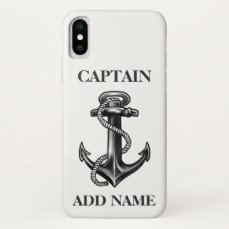 Personalized Captain Name Navy Anchor And Rope iPhone X Case
