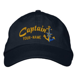 Personalized Captain Nautical Anchor Name Golden Embroidered Hat