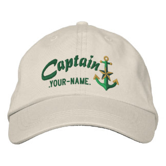Personalized Captain Nautical Anchor Name Green Embroidered Baseball Hat