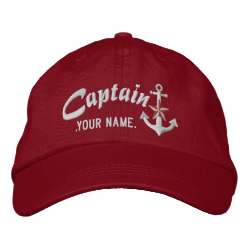 Personalized Captain Nautical Anchor Name White Embroidered Baseball Cap