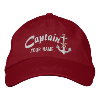 Personalized Captain Nautical Anchor Name White Embroidered Hat
