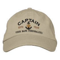Personalized Captain Nautical Star Anchor Embroidered Baseball Hat
