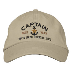 Personalized Captain Nautical Star Anchor Embroidered Baseball Hat at Zazzle