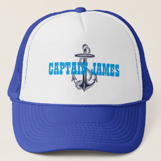Personalized Captain Navy Blue Vintage Anchor Trucker Hat