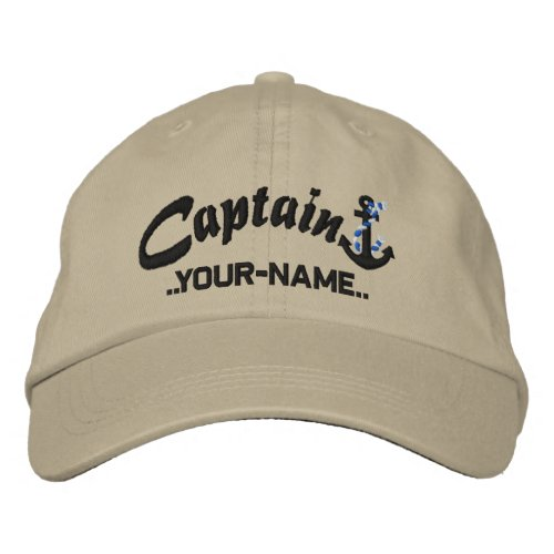 Personalized Captain Rope Anchor Name Black Embroidered Baseball Hat