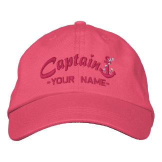 Personalized Captain Rope Anchor Name Fuchsia Embroidered Baseball Hat