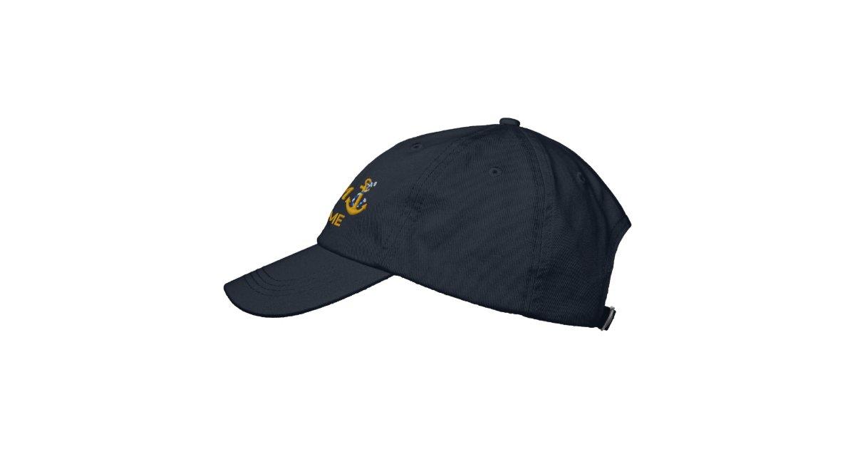 custom printed baseball caps uk personalized captain rope anchor name golden embroidered cap no minimum etsy