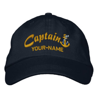 Personalized Captain Rope Anchor Name Golden Embroidered Baseball Cap