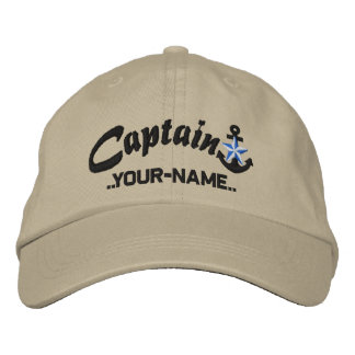 Personalized Captain Star Anchor Name Black Embroidered Baseball Cap