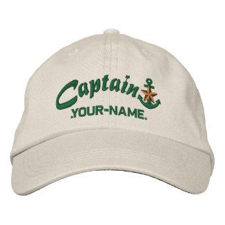 Personalized Captain Star Anchor Name Green Baseball Cap