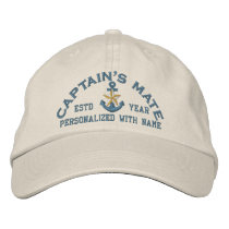 Personalized Captain's Mate Coastal Star Anchor Embroidered Baseball Hat
