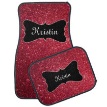 Personalized Car Mats, Red Glitter Name Mats Car