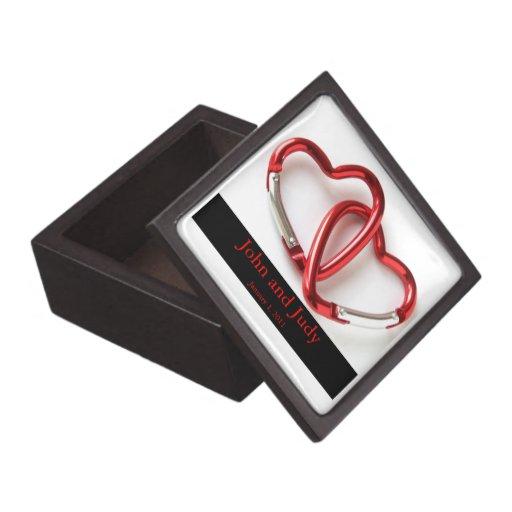 Personalized Carabiner Hearts Wedding Gift Box Premium Jewelry Box