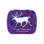 Personalized Caribou Reindeer Holiday Party Favors Jelly Belly Tin