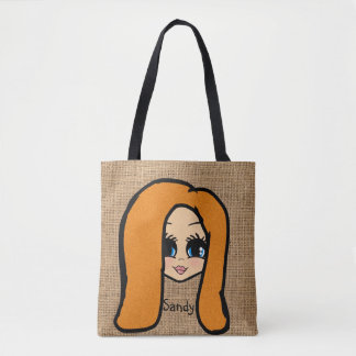 Personalized Caricature Jute Print ginger red Tote Bag