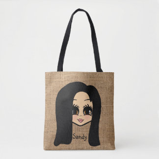 Personalized Caricature Jute Print Tote Black Hair
