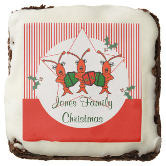Personalized Caroling Crawfish Christmas Brownie