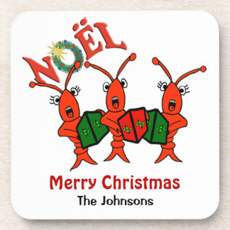 Personalized  Caroling Crawfish Lobster Christmas Coaster