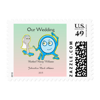 Personalized Cartoon Ball And Chain Wedding Postage