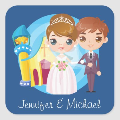 Personalized Cartoon Bride and Groom Wedding Stickers