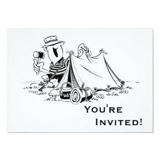 Personalized Cartoon Camp Out 5x7 Paper Invitation Card