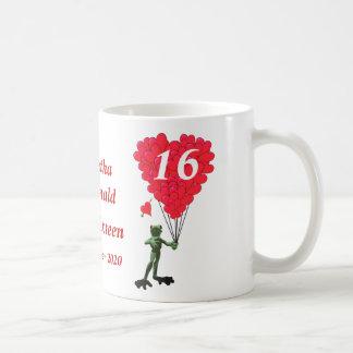 Personalized cartoon frog Sweet Sixteen Coffee Mug
