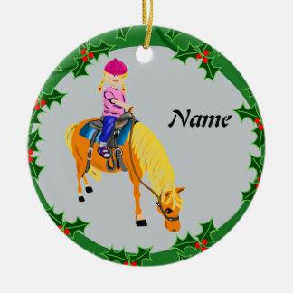 Personalized cartoon girl on pony horse ceramic ornament