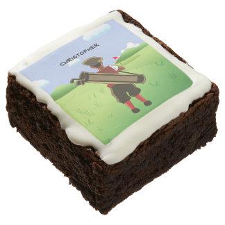 Personalized cartoon golfer brownie