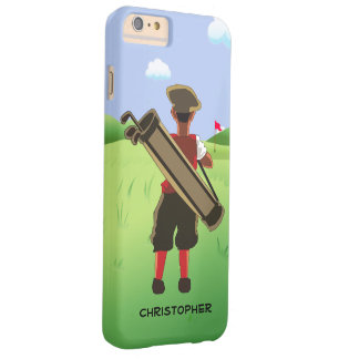 Personalized cartoon golfer on golf course barely there iPhone 6 plus case