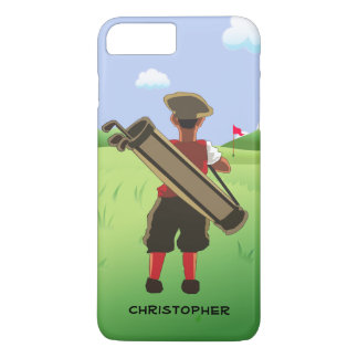Personalized cartoon golfer on golf course iPhone 7 plus case