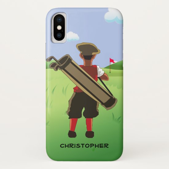 Personalized cartoon golfer on golf course iPhone XS case