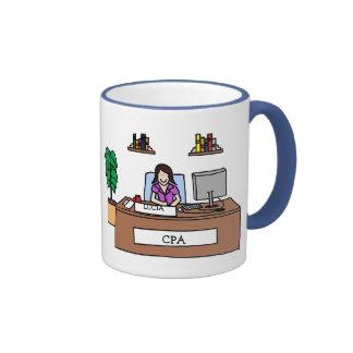 Personalized cartoon mug- Accounting or CPA Ringer Coffee Mug