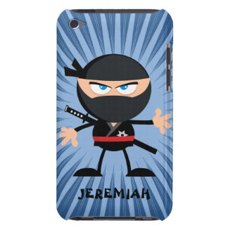 Personalized Cartoon Ninja on Blue Starburst Barely There iPod Case