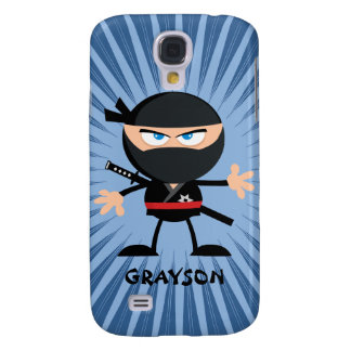 Personalized Cartoon Ninja on Blue Starburst Samsung Galaxy S4 Cover