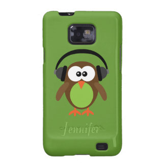 Personalized Cartoon Owl DJ With Headphones Samsung Galaxy S2 Case