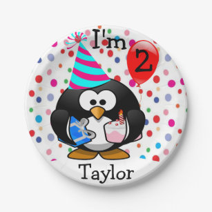 Personalized Cartoon Penguin 2nd Birthday Party Paper Plate