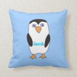 Personalized Cartoon Penguin Boys Blue Pillows