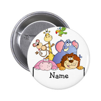 Personalized cartoon ZOO animals ARK Pinback Button