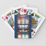 "Personalized Casino Slot Machine Bicycle Playing Cards<br><div class=""desc"">Personalized playing cards for poker night groups,  bachelor parties,  retirement,  birthday - any occasion.  Make these customized by changing the text template area prior to purchase.</div>"