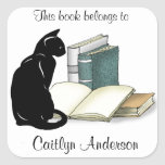 """Personalized Cat and Books  Bookplate Sticker<br><div class=""""desc"""">Personalized Cat and Books Bookplate Sticker with customizable text.</div>"""