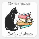 Personalized Cat and Books  Bookplate Sticker