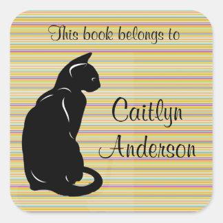 Personalized Cat Bookplate Sticker