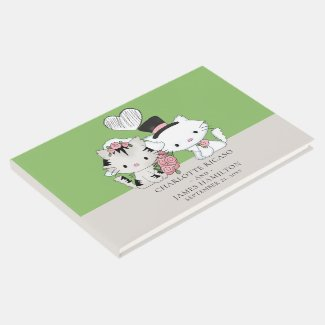 Personalized Cat Couple Bride And Groom Wedding Guest Book