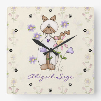 Personalized Cat, Flowers and Paw Print Wall Clock